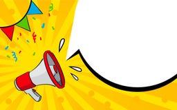 Bannière de vecteur avec la bulle de mégaphone et de parole Concept d'annonce illustration de vecteur