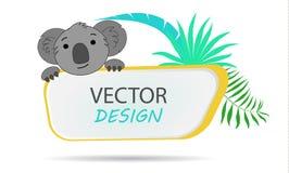 Bannière de vecteur avec le koala drapeau tropical Vue pour le texte avec un koala d'animal de bande dessinée Photo libre de droits