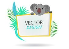 Bannière de vecteur avec le koala drapeau tropical Vue pour le texte avec un koala d'animal de bande dessinée Bannière avec des p Image libre de droits