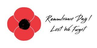 Bannière de vecteur d'Anzac Day Illustration et lettrage rouges de fleur de pavot - jour de souvenir et de peur que nous oubliion Image stock