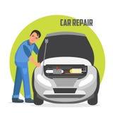 Bannière de vecteur de service et de réparation de voiture Image stock