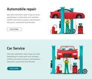 Bannière de vecteur de station d'atelier de réparations de voiture, fonctionnement de dépanneur, garage d'atelier Image stock