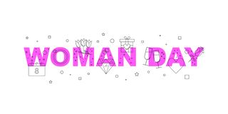 Bannière de vecteur de jour de femme Word avec la ligne icône image stock
