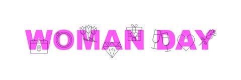 Bannière de vecteur de jour de femme Word avec la ligne icône images libres de droits