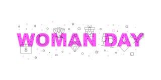 Bannière de vecteur de jour de femme Word avec la ligne icône image libre de droits
