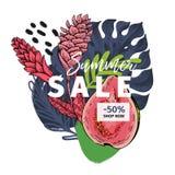 Bannière de vecteur pour le site Web de boutique Vente d'été Goyave tirée par la main d'american national standard de palmette à  Photo stock