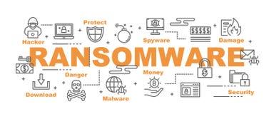 Bannière de vecteur de Ransomware illustration libre de droits