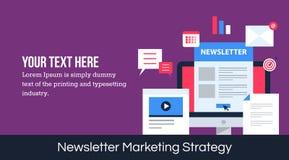 Bannière de vecteur de stratégie marketing de bulletin d'information Image libre de droits