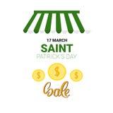 Bannière de vente au rabais d'offre de Patrick Day Beer Festival Special de saint Image libre de droits