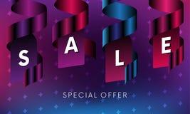 Bannière de vente avec le texte d'offre spéciale et rubans sur le fond coloré avec des étoiles Vecteur illustration libre de droits