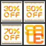 Bannière de vente avec 30, 50, remise de 70 pour cent Ba abstrait de vecteur Images stock
