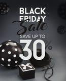 Bannière de vente de Black Friday, avec les ballons noirs Photo libre de droits