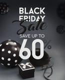Bannière de vente de Black Friday, avec les ballons noirs Photos stock