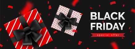 Bannière de vente de Black Friday, calibre pour la promotion sociale de courrier de médias illustration libre de droits