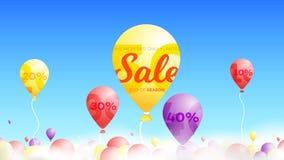 Bannière de vente d'été avec Baloon réaliste s'élevant au-dessus des nuages dans le ciel Fond conceptuel de vecteur Photographie stock