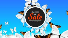 Bannière de vente d'été avec le papillon réaliste s'élevant au-dessus des nuages dans le ciel Fond conceptuel de vecteur Photos libres de droits