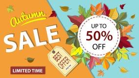 Bannière de vente d'automne Images libres de droits