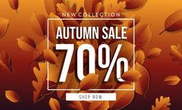 Bannière de vente d'automne avec le lettrage illustration libre de droits