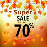Bannière de vente d'automne avec les feuilles colorées de chute Photo stock