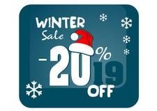 Bannière de vente d'hiver, -20%  2019 vente d'hiver d'illustration avec la remise de 20% Faites gagner jusqu'à 20 % illustration libre de droits