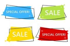 Bannière de vente d'offre spéciale pour votre conception festival d'événement de dégagement de remise Style minimal Prix à payer  Images libres de droits