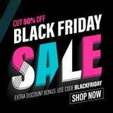 Bannière de vente de Black Friday, affiche, carte de remise Illustration Stock