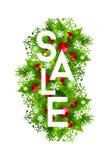 Bannière de vente de Noël avec des décorations de sapin et de houx Image stock