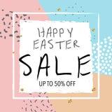 Bannière de vente de Pâques Illustration de vecteur Fond abstrait à la mode coloré Photographie stock