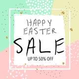 Bannière de vente de Pâques Illustration de vecteur Fond abstrait à la mode coloré Photo stock