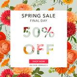 Bannière de vente de ressort Fond de vente Grande vente Étiquette florale de vente Photographie stock