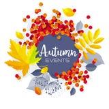Bannière de vente de vecteur de feuillage d'automne Photo libre de droits