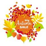Bannière de vente de vecteur de feuillage d'automne Photos libres de droits