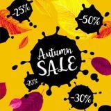 Bannière de vente de vecteur de feuillage d'automne Photographie stock libre de droits