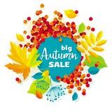 Bannière de vente de vecteur de feuilles d'automne Photo libre de droits