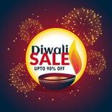Bannière de vente de diwali de festival avec des feux d'artifice et le beau diya Photo stock