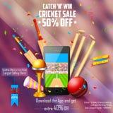 Bannière de vente et de promotion pour la saison de cricket Image stock