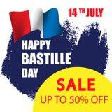 Bannière de vente de jour de bastille Images stock