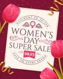 Bannière de vente de jour du ` s de femmes avec des tulipes Photos libres de droits