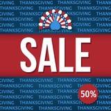 Bannière de vente de jour de thanksgiving des Etats-Unis : 50 %  illustration de vecteur