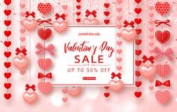 Bannière de vente de jour de valentines Beau fond avec des coeurs Dirigez l'illustration pour le desi de site Web, d'affiches, d' Photos libres de droits