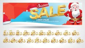 Bannière de vente de Noël avec l'étiquette de remise 10,20,30,40,50,60,70,80,90,99 pour cent illustration stock