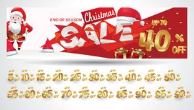 Bannière de vente de Noël avec l'étiquette de remise 10,20,30,40,50,60,70,80,90,99 pour cent illustration libre de droits