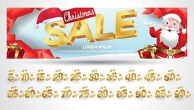 Bannière de vente de Noël avec l'étiquette de remise 10,20,30,40,50,60,70,80,90,99 pour cent illustration de vecteur