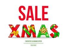 Bannière de vente de Noël avec l'arc décoratif de cadeau, ruban illustration stock