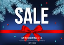 Bannière de vente de Noël avec l'arc décoratif de cadeau, ruban, branche impeccable illustration libre de droits