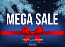 Bannière de vente de Noël avec l'arc décoratif de cadeau, ruban, sapin illustration de vecteur