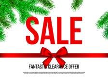 Bannière de vente de Noël avec l'arc décoratif de cadeau, ruban, spruc illustration libre de droits