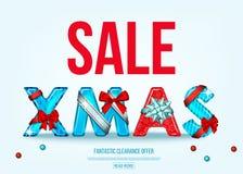 Bannière de vente de Noël avec l'arc rouge et bleu de cadeau illustration de vecteur