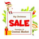 Bannière de vente de Noël fond avec l'elfe et le sapin mignons Calibre de conception de bannière pour des annonces, cartes de voe illustration libre de droits