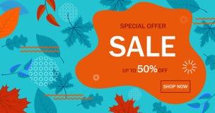 Bannière de vente pour le site Web Fond géométrique d'abrégé sur vente d'automne Matériel promotionnel de vente avec la forme liq illustration stock